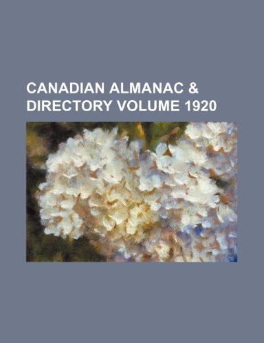9781231219157: Canadian almanac & directory Volume 1920