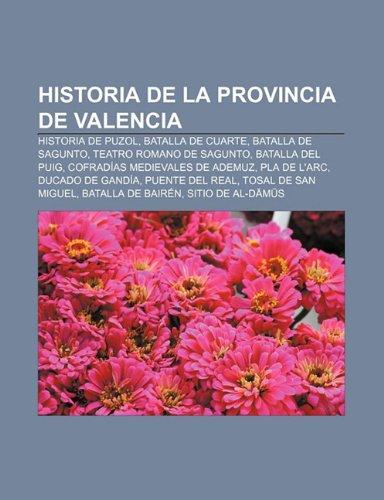 9781231568330: Historia de la provincia de Valencia: Historia de Puzol, Batalla de Cuarte, Batalla de Sagunto, Teatro romano de Sagunto, Batalla del Puig