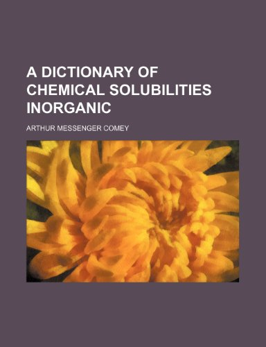 9781231599488: A Dictionary of Chemical Solubilities Inorganic