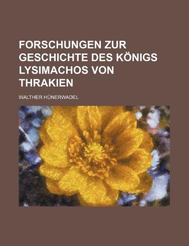9781235407246: Forschungen Zur Geschichte Des Konigs Lysimachos Von Thrakien