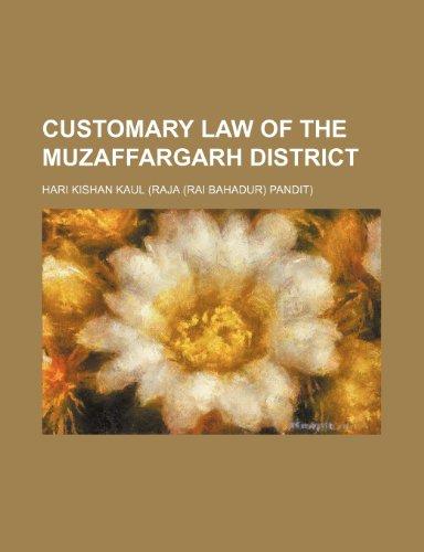 9781235799204: Customary Law of the Muzaffargarh District