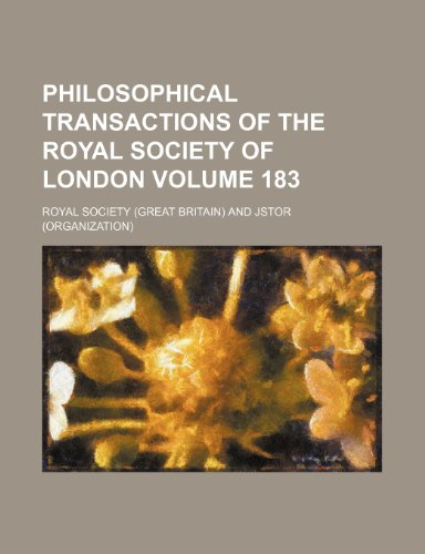 9781236375599: Philosophical transactions of the Royal Society of London Volume 183