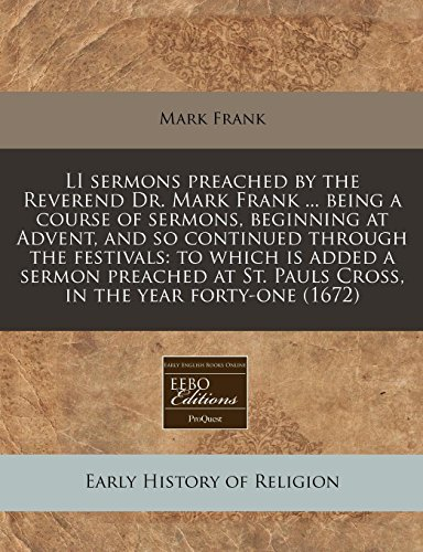 Li Sermons Preached by the Reverend Dr.: Frank, Mark