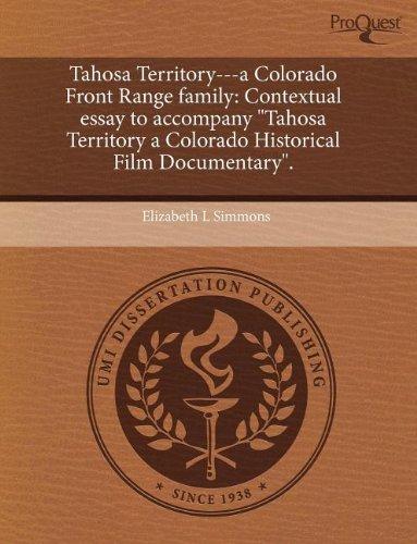 """Tahosa Territory---a Colorado Front Range family: Contextual essay to accompany """"Tahosa ..."""
