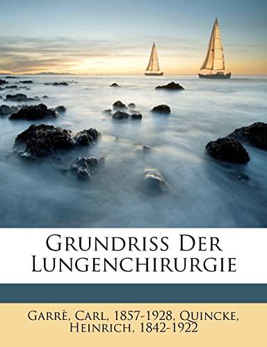 9781246888836: Grundriss Der Lungenchirurgie (German Edition)