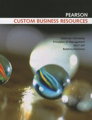 9781256045687: Principles of Management: MGT 301: Saint Leo University (Pearson Custom Business Resources)
