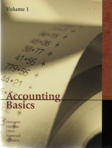 Accounting Basics Volume 1: Charles T. Horngren,