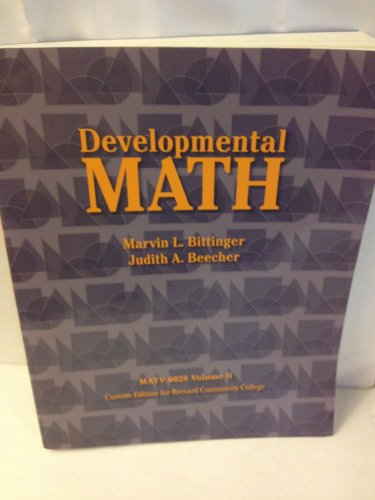 9781256771173: Developmental Math: MATV 0028 Volume II, Custom Edition for Brevard Community College
