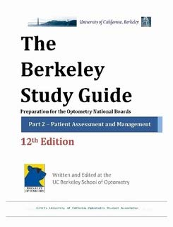 9781257000074: Berkeley Study Guide: Preparation for the Optometry National Boards, Part 2: Patient Assessment and Management