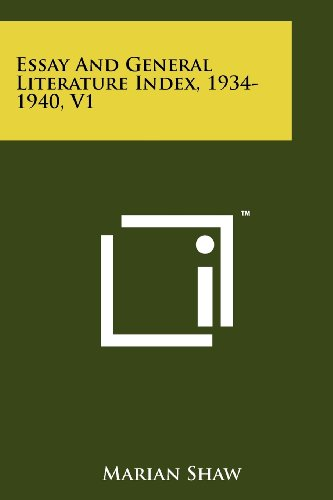 9781258267261: Essay and General Literature Index, 1934-1940, V1