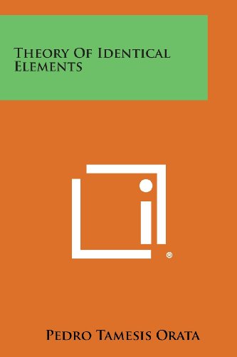 9781258613617: Theory Of Identical Elements