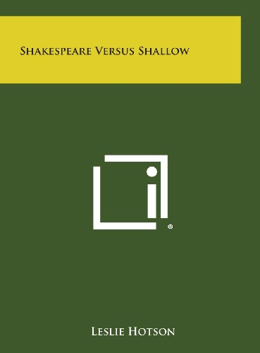 9781258914295: Shakespeare Versus Shallow