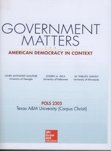 9781259115295: Government Matters: American Democracy in Context