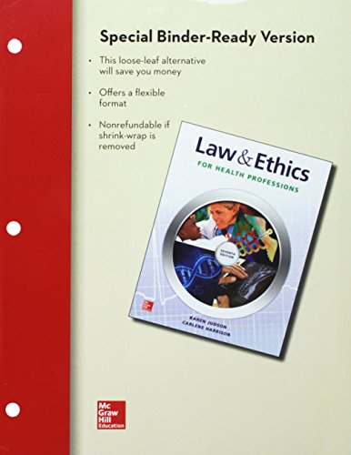 9781259154201: Loose Leaf for Law & Ethics for the Health Professions