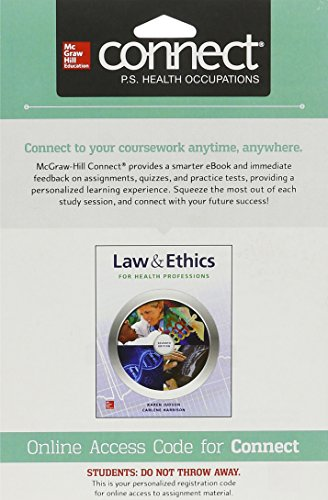 9781259154218: Connect Access Card for Law & Ethics for the Health Professions