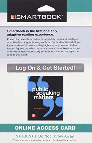 9781259191183: SmartBook Access Card for Public Speaking Matters