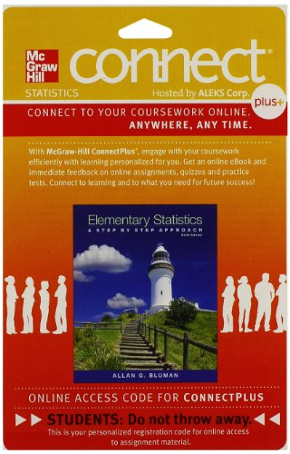 9781259198946: Connect Plus Statistics Hosted by ALEKS Access Card 52 Weeks for Elementary Statistics: A Step-By-Step Approach