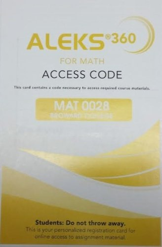 9781259219689: Aleks 360 For Math Access Code for MAT0028 Broward College