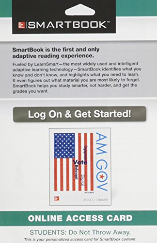 9781259278969: SmartBook Access Card for AM GOV 2015-2016