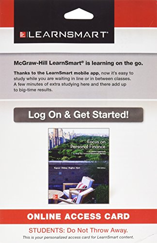 9781259355271: LearnSmart Standalone Access Code Card for Kapoor Focus on Personal Finance