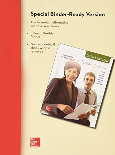 9781259415142: Loose-Leaf for McGraw-Hill's Essentials of Federal Taxation, 2016 Edition