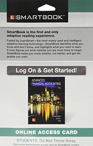 9781259545108: SmartBook Access Card for Advanced Financial Accounting 11th Edition