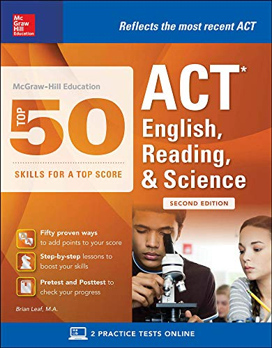 McGraw-Hill Education: Top 50 ACT English, Reading,: Leaf, Brian