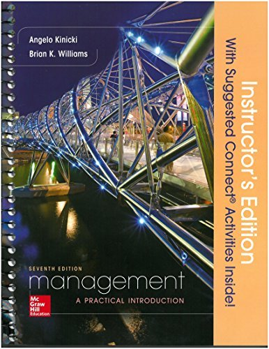 9781259593468: Management 7th. Instructor's Edition Spiral; 2016 Kinicki