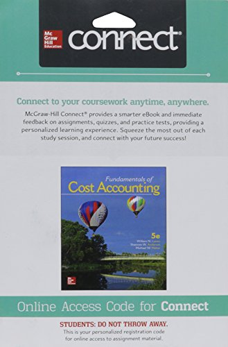 9781259728860: Connect 1-Semester Access Card for Fundamentals of Cost Accounting