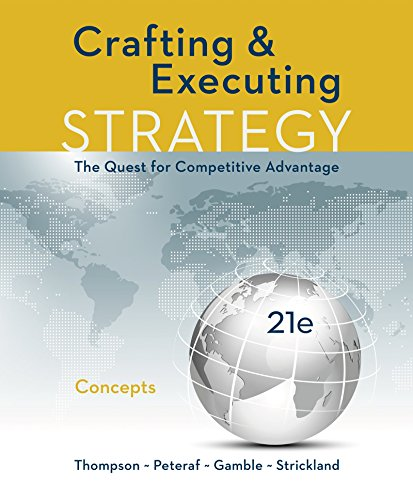 thompson jr crafting and executing strategy 17e by arthur thompson jr a strickland iii john gamble Books by john gamble strickland and gambles', crafting and executing strategy, 17e isbn: 0-07-302307-8 book by thompson jr arthur a strickland iii.