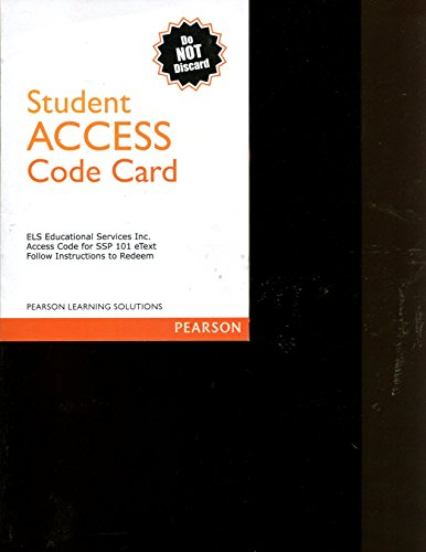 9781269306089: ELS Educational Services Access Code SSP 101 eText Pearson