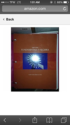 9781269384223: Fundamentals of Algebra - IUPUI Edition Math 11000