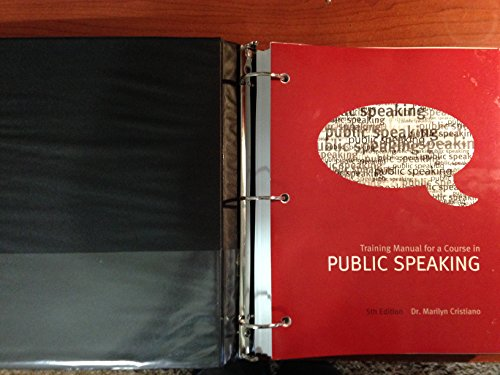 9781269407274: Training Manual for a Course in Public Speaking, Fifth Edition