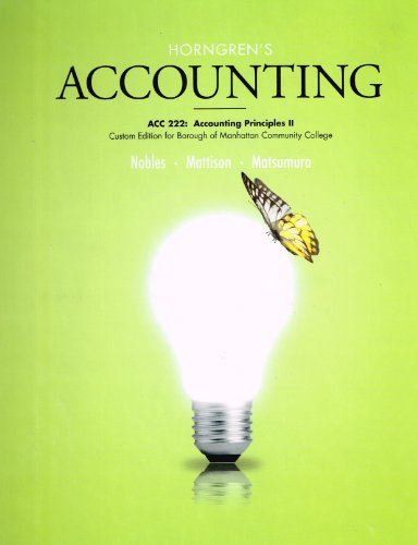 9781269414623: Horngrens Accounting Principles 2. Custom Edition for Borough of Manhattan Community College