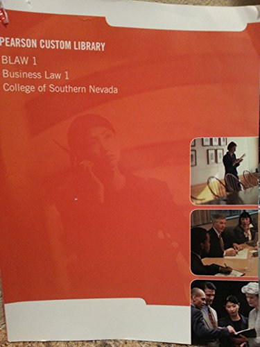 9781269702041: Person Custom Library- Blaw 1, Business Law 1- College of Southern Nevada