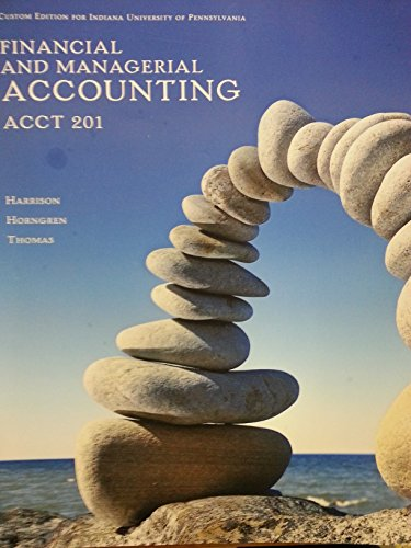 9781269882378: Financial and Managerial Accounting - IUP, ACCT 201