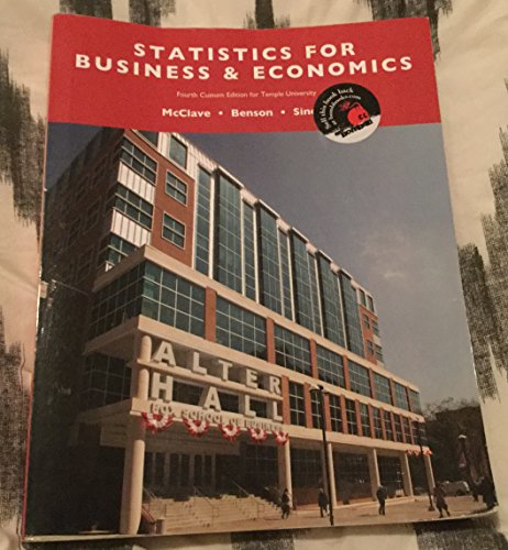 9781269908986: Statistics for Business & Economics 4th Custom Edition for Temple University