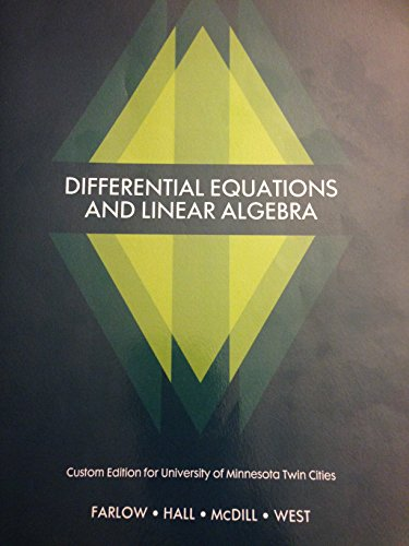 9781269940122: Differential Equations and Linear Algebra Custom Edition for University of Minnesota Twin Cities
