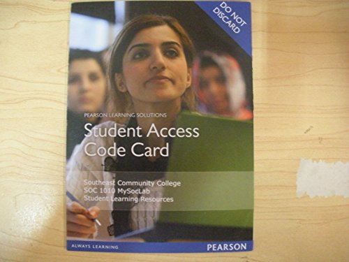 9781269960670: MySocLab in Moodle for Southeast Community College SOC 1010 Student Access Code Card