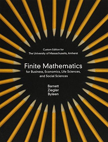 9781269968690: Finite Mathematics for business, Economics, Life Sciences and Social Sciences for University of Massachuetts (3rd Edition)