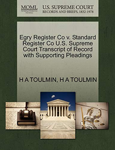 Egry Register Co v. Standard Register Co U.S. Supreme Court Transcript of Record with Supporting ...