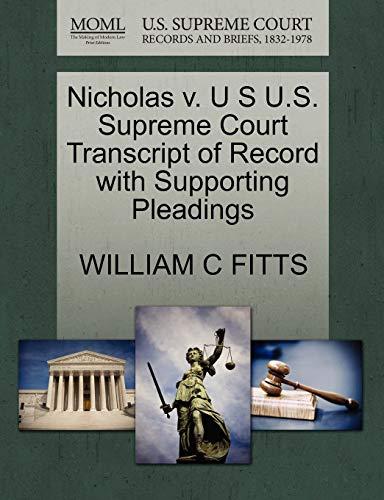 Nicholas V. U S U.S. Supreme Court: William C Fitts