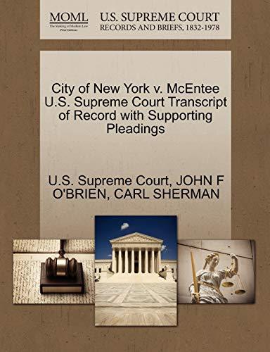 City of New York V. McEntee U.S.: John F O