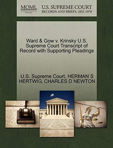 Ward Gow V. Krinsky U.S. Supreme Court: Herman S Hertwig,