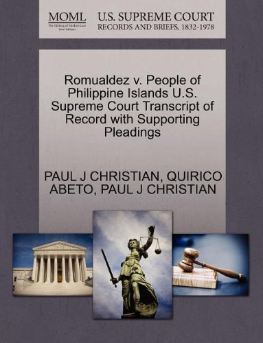 Romualdez v. People of Philippine Islands U.S. Supreme Court Transcript of Record with Supporting ...