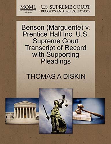 9781270593546: Benson (Marguerite) v. Prentice Hall Inc. U.S. Supreme Court Transcript of Record with Supporting Pleadings