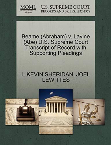 Beame (Abraham) V. Lavine (Abe) U.S. Supreme: L Kevin Sheridan,