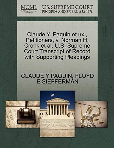 Claude Y. Paquin Et UX., Petitioners, V.: Claude Y Paquin