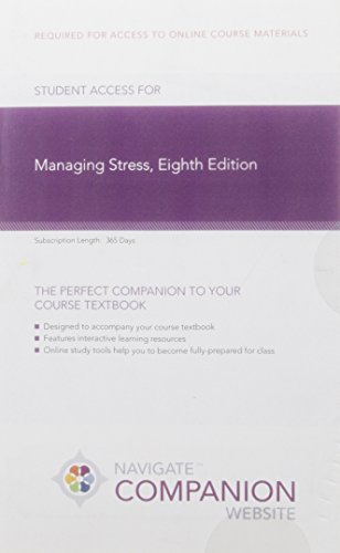 Navigate Companion Website Access for Managing Stress, Eighth Edition