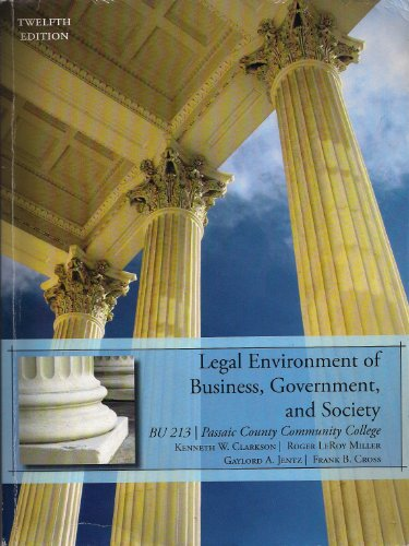 9781285024776: Legal Environment of Business, Government, and Society (BU 213 | Passaic County Community College)